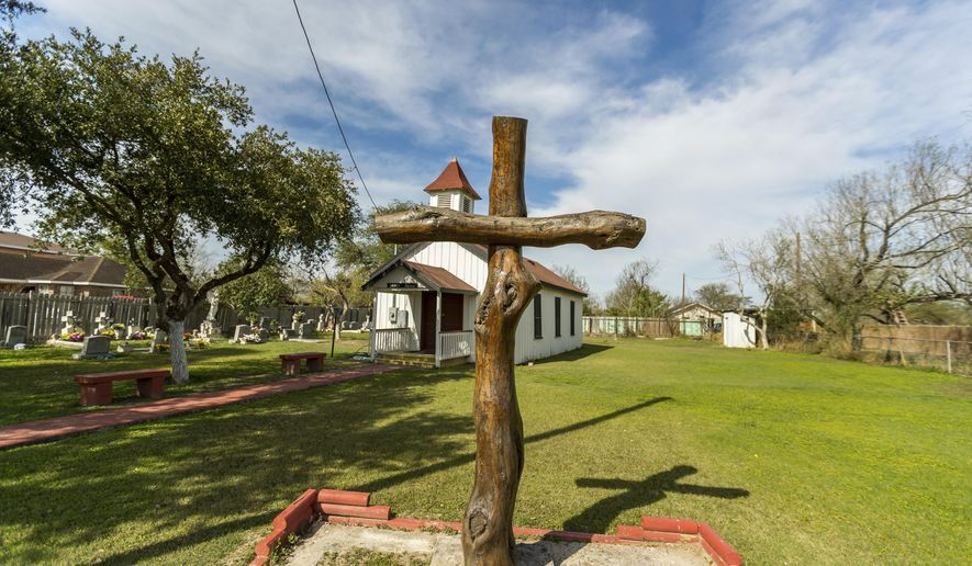 "In this Feb. 2, 2019, photo, provided by the University of Texas Rio Grande Valley, is the Eli Jackson Methodist Church and cemetery in San Juan, Texas. It is located on a ranch once operated by Nathaniel and Matilda Jackson, a biracial couple believed to have been ""conductors"" of the Underground Railroad to Mexico. Across Texas and parts of Louisiana, Alabama, and Arkansas, scholars and preservation advocates are working to piece together a puzzle of a largely forgotten piece of American history: a network that helped thousands of Black slaves escape to Mexico. (David Pike/University of Texas Rio Grande Valley via AP)"
