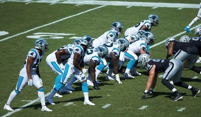 Carolina Panthers quarterback Teddy Bridgewater (5) lines up under center during the second half an NFL football game against the Las Vegas Raiders, Sunday, Sept. 13, 2020, in Charlotte, N.C. (AP Photo/Brian Westerholt)