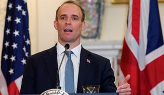 "British Foreign Secretary Dominic Raab said his government is ""excited"" about striking a post-Brexit free trade deal with the United States. (ASSOCIATED PRESS)"