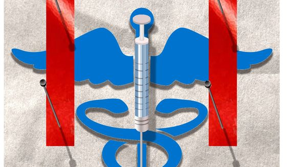 Illustration on government delays and a COVID19 vaccine by Alexander Hunter/The Washington times
