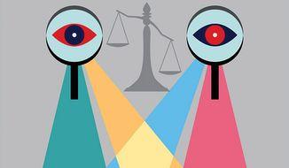 Illustration on lawless investigators by Linas Garsys/The Washington Times