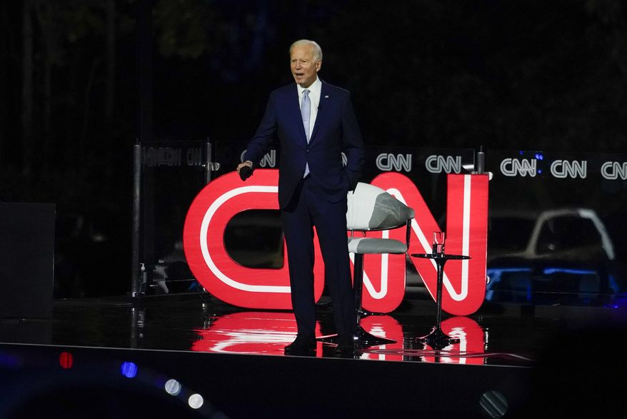 Democratic presidential candidate former Vice President Joe Biden participates in a CNN town hall moderated by CNN's Anderson Cooper in Moosic, Pa., Thursday, Sept. 17, 2020. (AP Photo/Carolyn Kaster)