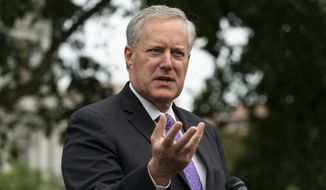 White House Chief of Staff Mark Meadows speaks with reporters at the White House, Thursday, Sept. 17, 2020, in Washington. (AP Photo/Alex Brandon)