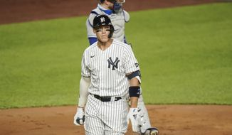 New York Yankees Aaron Judge reacts after striking out during the first inning of a baseball game against the Toronto Blue Jays Wednesday, Sept. 16, 2020, in New York. (AP Photo/Frank Franklin II)