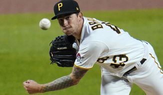 Pittsburgh Pirates starting pitcher Steven Brault delivers during the first inning of the team's baseball game against the St. Louis Cardinals in Pittsburgh, Thursday, Sept. 17, 2020. (AP Photo/Gene J. Puskar)