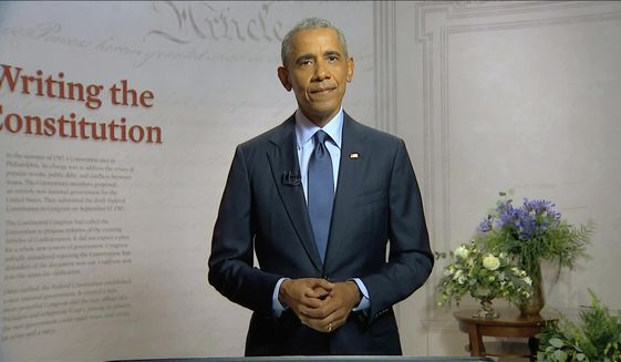 In this image from video, former President Barack Obama speaks during the third night of the Democratic National Convention on Wednesday, Aug. 19, 2020. (Democratic National Convention via AP)  **FILE**