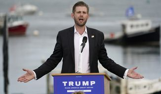 Eric Trump, the son of President Donald Trump, speaks at a campaign rally for his father, Tuesday, Sept. 17, 2020, in Saco, Maine. (AP Photo/Robert F. Bukaty)
