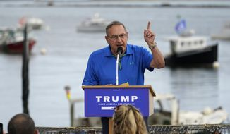 Former Maine Gov. Paul LePage speaks at a campaign rally held by Eric Trump, son of then-President Donald Trump, Tuesday, Sept. 17, 2020, in Saco, Maine. (AP Photo/Robert F. Bukaty) ** FILE **
