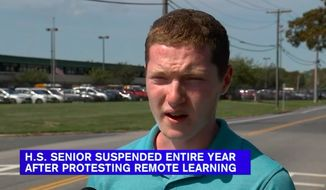 Maverick Stow, a 17-year-old senior at William Floyd High School who was suspended and then arrested after defying distance learning rules, has been suspended for the rest of the school year. (Screen grab via WABC)