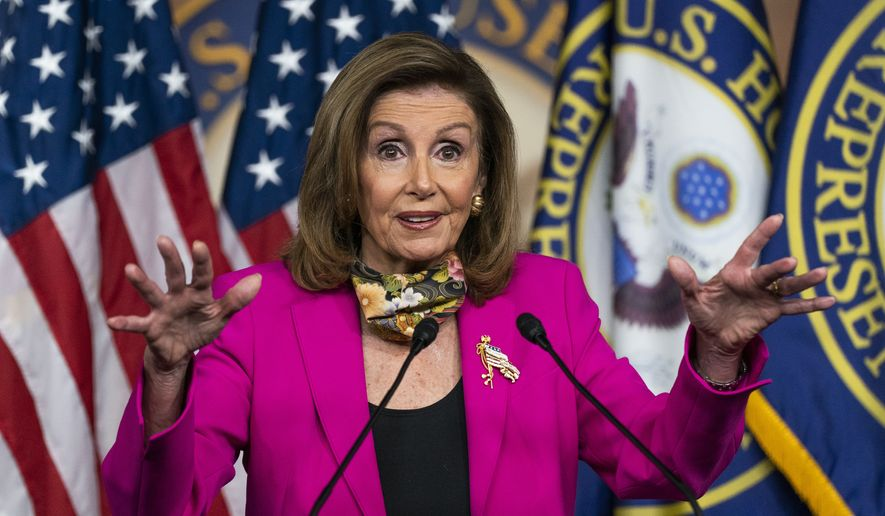 House Speaker Nancy Pelosi of Calif., speaks during a news conference on Capitol Hill, Friday, Sept. 18, 2020, in Washington. (AP Photo/Manuel Balce Ceneta)