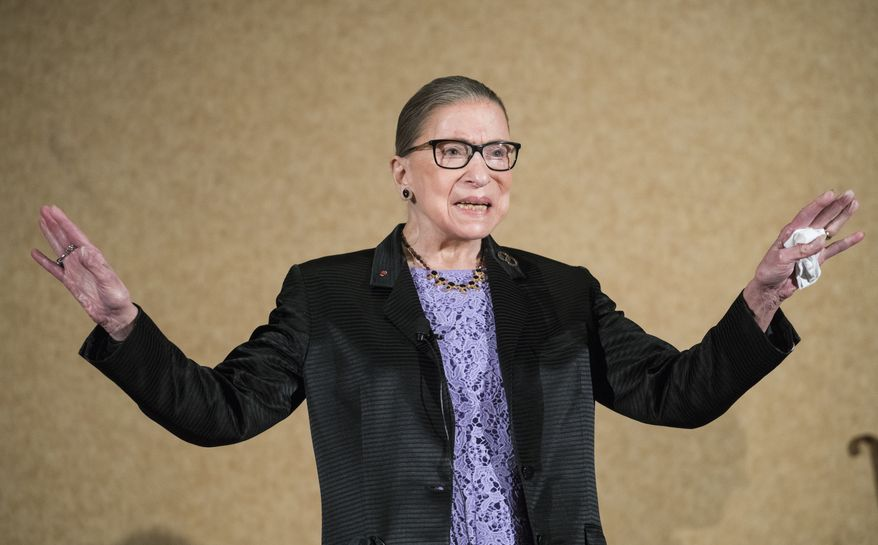 In this Aug. 19, 2016, file photo, Supreme Court Justice Ruth Bader Ginsburg is introduced during the keynote address for the State Bar of New Mexico's annual meeting in Pojoaque, N.M. The Supreme Court says Ginsburg has died of metastatic pancreatic cancer at age 87. (AP Photo/Craig Fritz, File)