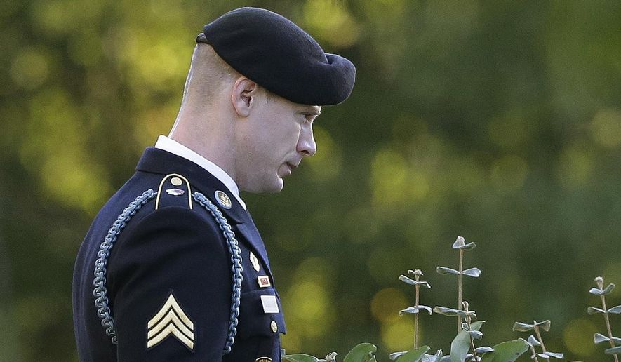 FILE - In this Friday, Nov. 3, 2017 file photo, Army Sgt. Bowe Bergdahl leaves the Fort Bragg courtroom facility as the judge deliberates during a sentencing hearing at Fort Bragg, N.C .A new motion filed, Friday, Sept. 18, 2020 in the case of former U.S Army Sgt. Bowe Bergdahl is asking the highest appeals court for the U.S. military to overturn his conviction, citing an alleged conflict of interest involving the judge who originally presided over his sentencing. (AP Photo/Gerry Broome, File)