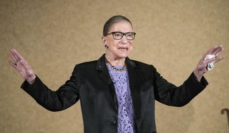FILE - In this Aug. 19, 2016, file photo, Supreme Court Justice Ruth Bader Ginsburg is introduced during the keynote address for the State Bar of New Mexico's annual meeting in Pojoaque, N.M. The Supreme Court says Ginsburg has died of metastatic pancreatic cancer at age 87. (AP Photo/Craig Fritz, File)