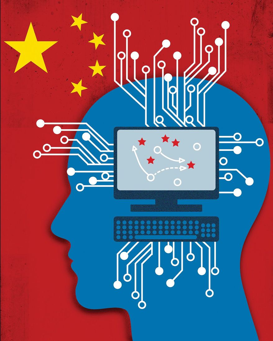 Illustration on the cyber Cold War with China by Linas Garsys/The Washington Times