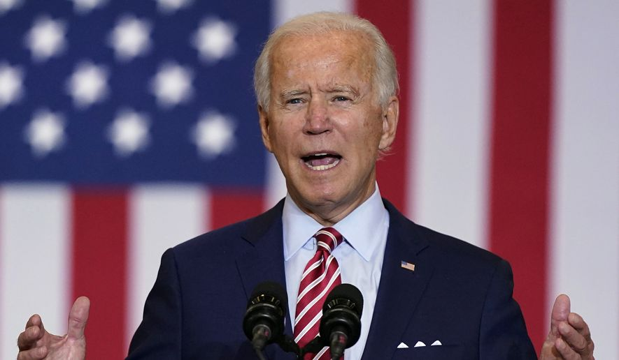 Democratic presidential candidate former Vice President Joe Biden speaks during a Hispanic Heritage Month event, Tuesday, Sept. 15, 2020, at Osceola Heritage Park in Kissimmee, Fla. (AP Photo/Patrick Semansky) ** FILE **