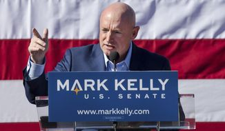 FILE - In this Feb. 2019 file photo, former astronaut Mark Kelly speaks during his senate campaign kickoff event in Tucson, Ariz. If Arizona Democrat Mark Kelly wins a seat in the U.S. Senate, he could take office as early as Nov. 30, 2020. A Kelly victory would shrink the GOP's Senate majority at a crucial moment and complicate the path to confirmation for President Donald Trump's Supreme Court nominee.(Mike Christy/Arizona Daily Star via AP, File)