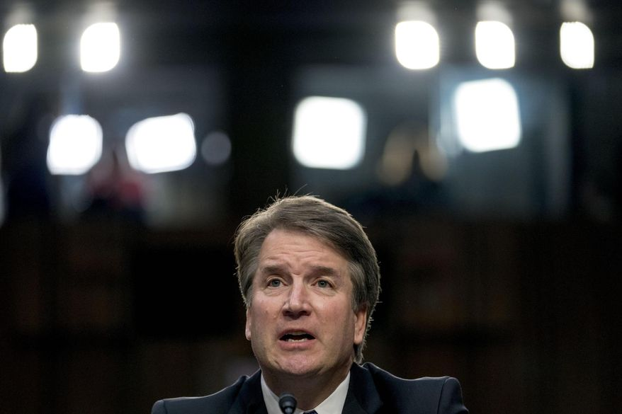 President Trump's then-Supreme Court nominee Judge Brett Kavanaugh, speaks before the Senate Judiciary Committee in 2018. (Associated Press)