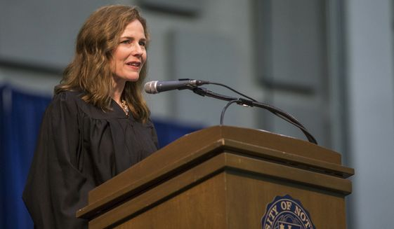 Amy Coney Barrett, United States Court of Appeals for the Seventh Circuit judge, speaks during the University of Notre Dame's Law School commencement ceremony at the university, in South Bend, Ind. (Robert Franklin/South Bend Tribune via AP, File)