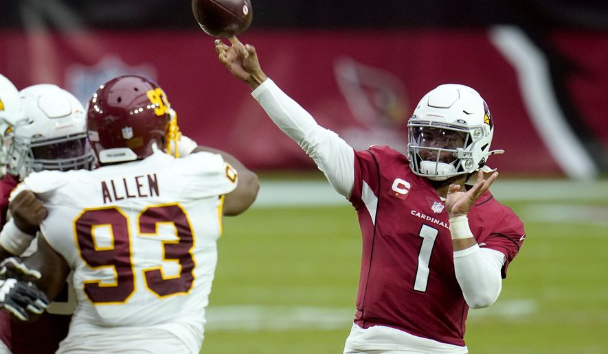 Arizona Cardinals quarterback Kyler Murray (1) throws during the second half of an NFL football game as Washington Football Team defensive tackle Jonathan Allen (93) defends, Sunday, Sept. 20, 2020, in Glendale, Ariz. (AP Photo/Ross D. Franklin)