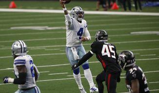 Dallas Cowboys quarterback Dak Prescott (4) throws a pass under pressure fro Atlanta Falcons linebacker Deion Jones (45) in the second half of an NFL football game in Arlington, Texas, Sunday, Sept. 20, 2020. (AP Photo/Ron Jenkins)