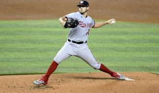 Washington Nationals starting pitcher Braxton Garretts throws during the second inning of a second game of doubleheader against the Miami Marlins, Sunday, Sept. 20, 2020, in Miami. (AP Photo/Gaston De Cardenas)