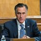 """Senate Homeland Security and Governmental Affairs Committee member Sen. Mitt Romney, R-Utah, speaks during the committee's business meeting where it will consider new subpoenas in the """"Crossfire Hurricane""""/Burisma investigation on Capitol Hill, Wednesday, Sept. 16, 2020, in Washington. (AP Photo/Manuel Balce Ceneta)  **FILE***"""