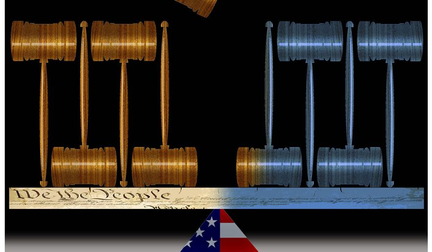 Illustration on the balance of the Supreme Court by Alexander Hunter/The Washington Times