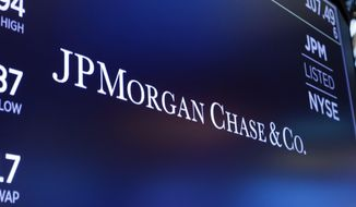 FILE - In this Aug. 16, 2019, file photo, the logo for JPMorgan Chase & Co. appears above a trading post on the floor of the New York Stock Exchange in New York.  Shares of some major banks are tumbling before the market open Monday, Sept . 21, 2020, following a report alleging those including JPMorgan, HSBC, Standard Chartered Bank, Deutsche Bank and Bank of New York Mellon continued to profit from illicit dealings with disreputable people and criminal networks despite being previously fined for similar actions.   (AP Photo/Richard Drew, File)