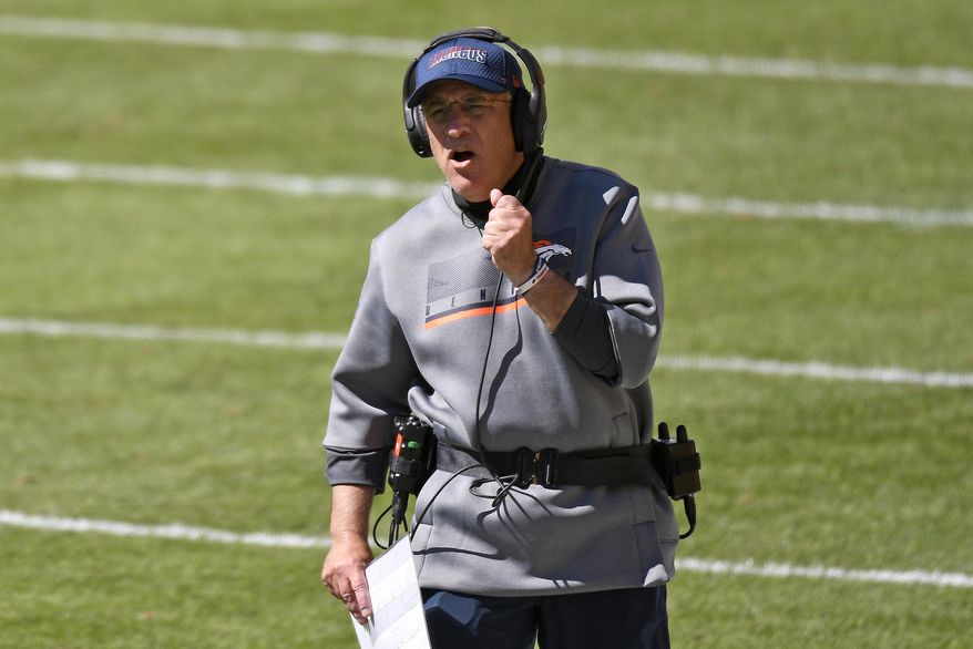 Denver Broncos head coach Vic Fangio walks the sideline during the first half of an NFL football game against the Pittsburgh Steelers in Pittsburgh, Sunday, Sept. 20, 2020. (AP Photo/Don Wright)  **FILE**