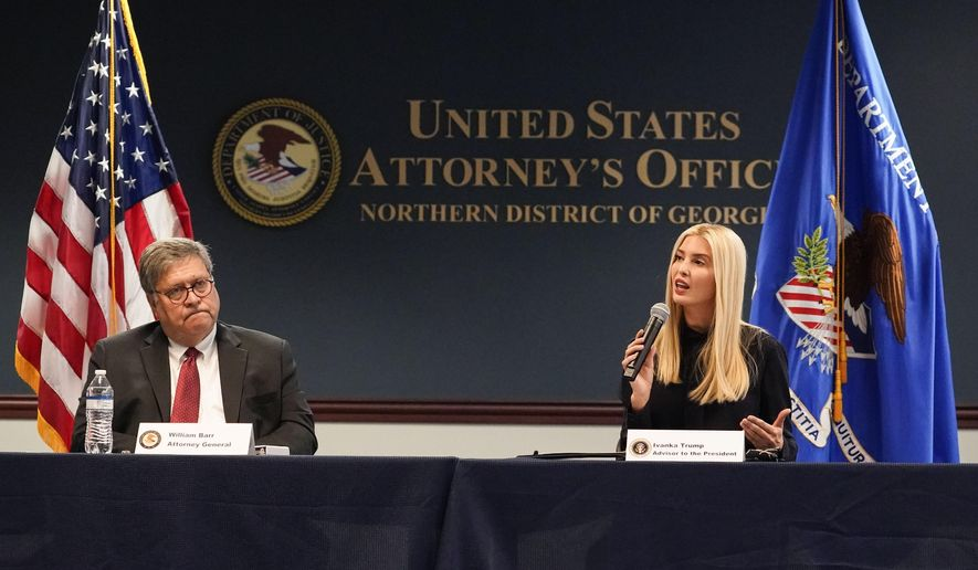 Attorney General William Barr and Ivanka Trump meet with federal officials for a panel discussion on combating human trafficking at the U.S. Attorney's Office in Atlanta on Monday, Sept. 21, 2020. (AP Photo/Brynn Anderson) **FILE**