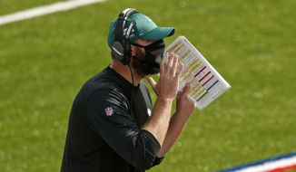 New York Jets head coach Adam Gase yells instructions during the second half of an NFL football game against the Buffalo Bills in Orchard Park, N.Y., Sunday, Sept. 13, 2020. (AP Photo/Jeffrey T. Barnes)