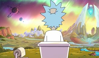 "Rick Sanchez ponders life in the classic episode ""The Old Man and the Seat,"" part of Rick and Morty: Season 4, now available in Blu-ray from Warner Bros. Home Entertainment."