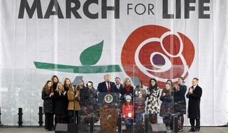 """FILE - In this Friday, Jan. 24, 2020, file photo, President Donald Trump speaks at the """"March for Life"""" rally on the National Mall in Washington. The Supreme Court vacancy created by the death of Justice Ruth Bader Ginsburg is heightening a sense of alarm among supporters of abortion rights. And it's fueling a surge of optimism among abortion opponents. (AP Photo/Patrick Semansky, File)"""