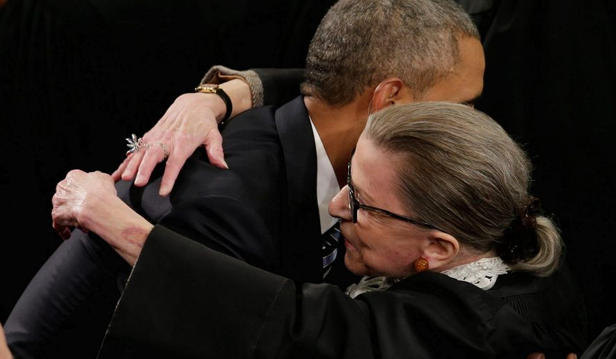 President Barack Obama embracing Justice Ruth Bader Ginsburg prior to his State of The Union speech in January of 2016. (Associated Press) ** FILE **