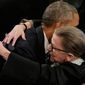 Presdident Barack Obama embracing Justice Ruth Bader Ginsburg prior to his State of The Union speech in January of 2016     Associated Press photo