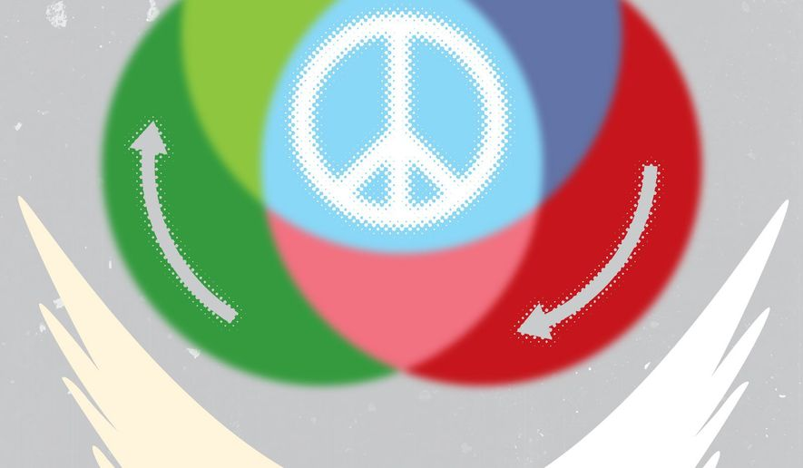 Illustration on the Middle East peace process by Linas Garsys/The Washington Times