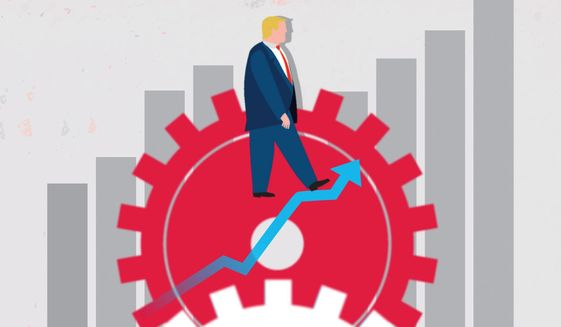 Illustration on Trump's job creation by Linas Garsys/The Washington Times
