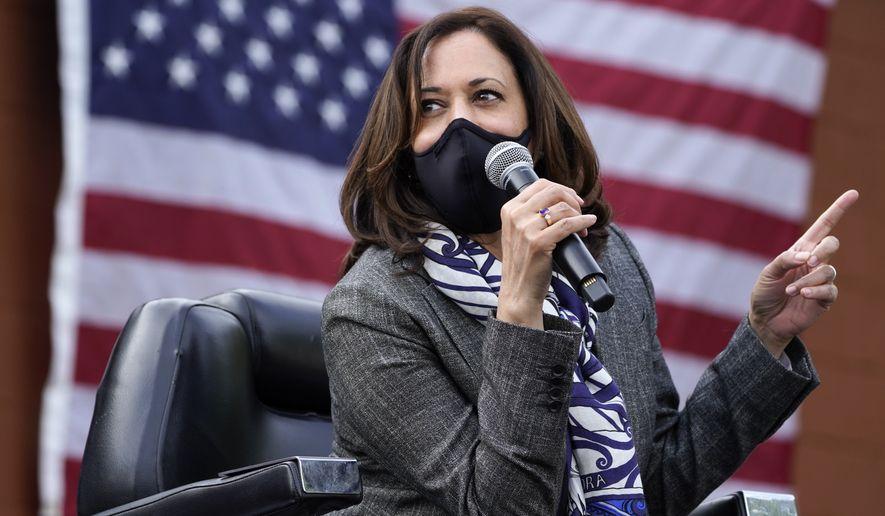 Democratic vice-presidential candidate Sen. Kamala Harris, D-Calif., speaks at Headliners Barbershop in Detroit, Tuesday, Sept. 22, 2020. (AP Photo/Paul Sancya)