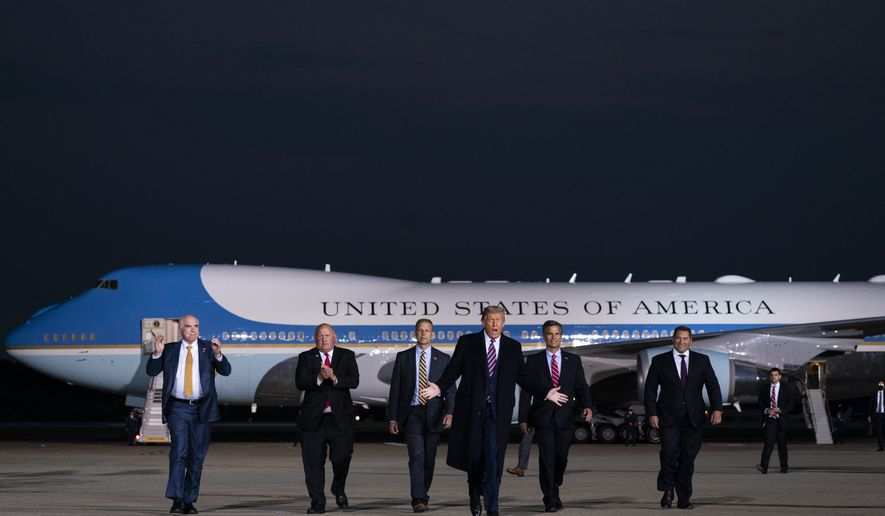 President Donald Trump arrives to speak to a campaign rally at Tuesday, Sept. 22, 2020, in Moon Township, Pa. (AP Photo/Evan Vucci)