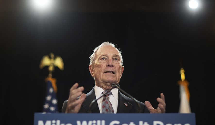 In this Feb. 5, 2020, file photo, then-Democratic presidential candidate and former New York City Mayor Michael Bloomberg speaks at a campaign event in Providence, R.I.  (AP Photo/David Goldman, File)  **FILE**
