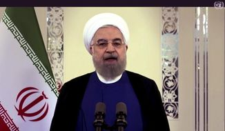 In this image made from UNTV video, Iranian President Hassan Rouhani speaks in a prerecorded message that was played during the 75th session of the United Nations General Assembly, Tuesday, Sept. 22, 2020, at UN headquarters in New York. (UNTV via AP)