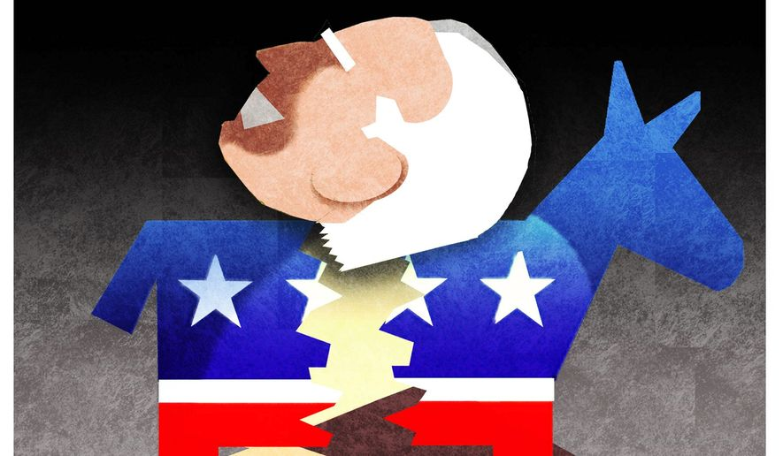 Illustration on Democratic Party tensions and the death of RGB by Alexander Hunter/The Washington Times
