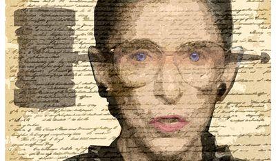 Illustration on Justice Ruth Bader Ginsburg by Alexander Hunter/The Washington Times