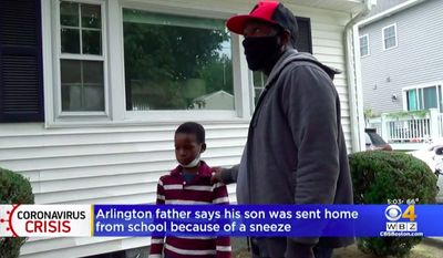 Thierno Keita, a father in Arlington, Massachusetts, said his fourth-grade son, Lancinet, was sent home from school and ordered to produce a negative COVID-19 test because he sneezed during class.