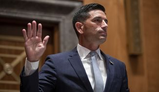 Acting Secretary of Homeland Security Chad Wolf is sworn in before the Senate Homeland Security and Governmental Affairs Committee during his confirmation hearing, Wednesday, Sept. 23, 2020, on Capitol Hill in Washington. (Shawn Thew/Pool via AP)