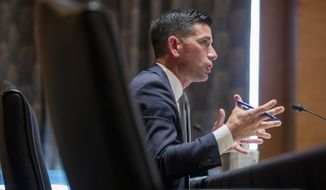 Acting Secretary of Homeland Security Chad Wolf testifies before the Senate Homeland Security and Governmental Affairs committee during his confirmation hearing, Wednesday, Sept. 23, 2020 on Captiol Hill in Washington. (Shawn Thew/Pool via AP)