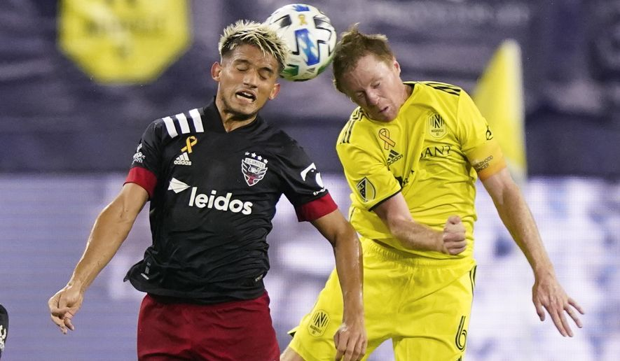 D.C. United midfielder Yamil Asad (11) and Nashville SC midfielder Dax McCarty (6) head the ball during the first half of an MLS soccer match Wednesday, Sept. 23, 2020, in Nashville, Tenn. (AP Photo/Mark Humphrey)