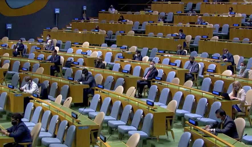 In this image made from UNTV video, delegates attend the 75th session of the United Nations General Assembly, Wednesday, Sept. 23, 2020, at UN headquarters in New York. The U.N.'s first virtual meeting of world leaders started Tuesday with pre-recorded speeches from some of the planet's biggest powers, kept at home by the coronavirus pandemic that will likely be a dominant theme at their video gathering this year. (UNTV via AP)
