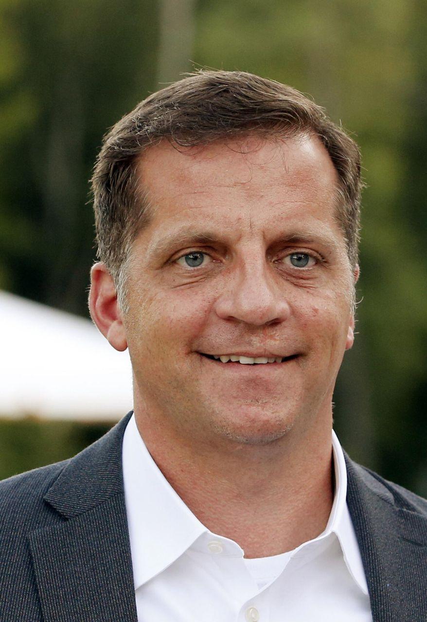 Republican Daniel Gade, who is running against Sen. Mark Warner, D-Va., holds a gathering at Hardywood Brewery in Richmond, Va. (Joe Mahoney/Richmond Times-Dispatch via AP)