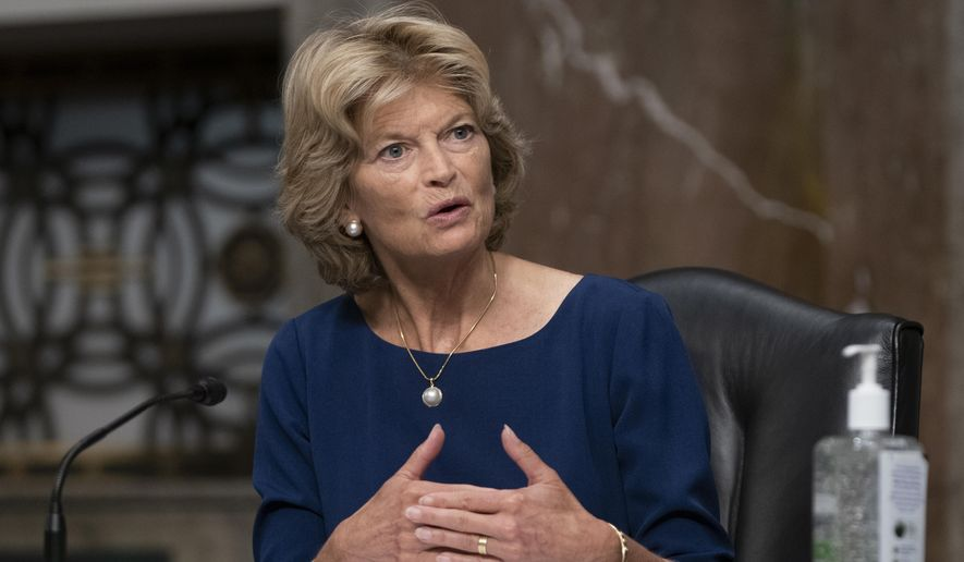 Sen. Lisa Murkowski, R-Alaska, questions witnesses during a Senate Senate Health, Education, Labor, and Pensions Committee Hearing on the federal government response to COVID-19 on Capitol Hill Wednesday, Sept. 23, 2020, in Washington. (Alex Edelman/Pool via AP) ** FILE **